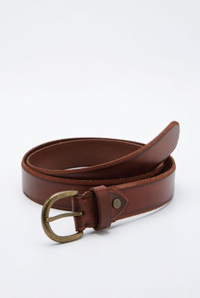 CURVED-BUCKLE LEATHER BELT