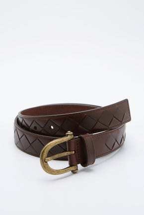 CURVED-BUCKLE WOVEN BELT