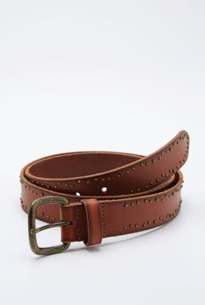LEATHER BELT WITH BRASS PIN