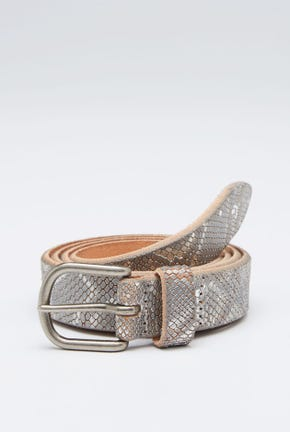 LEATHER BELT WITH REPTILE SKIN DETAIL