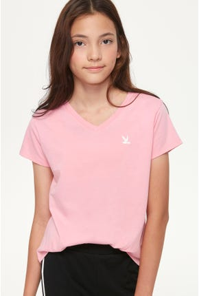 GIRL V-NECK BIRD LOGO TEE