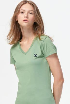 เสื้อยืดคอวีสีพื้นปักโลโก้รูปนก