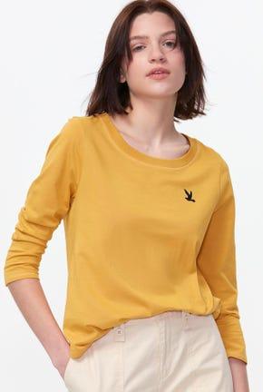 เสื้อยืดแขนสี่ส่วนปักโลโก้รูปนก