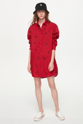 LONG-SLEEVED SHIRT DRESS WITH HEART PRINT