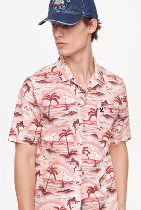 CAMP COLLAR SUMMER BEACH PRINTED SHIRT