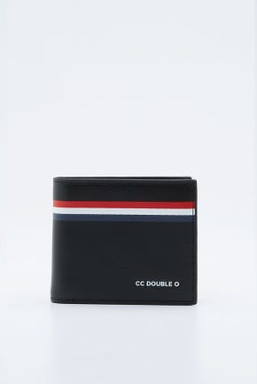 CONTRAST STRIPED LEATHER WALLET