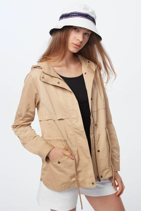 HOODED JACKET WITH DRAWSTRING WAIST