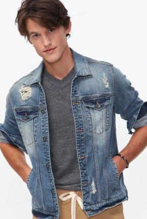 เสื้อแจ็คเก็ตยีนส์ฟอกสีอ่อน