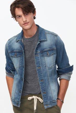 เสื้อแจ็คเก็ตยีนส์ฟอกสีกลาง
