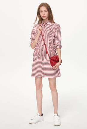 MIX STRIPED SHIRT DRESS