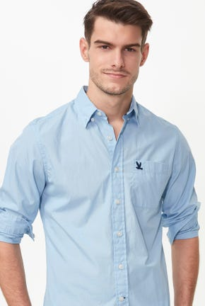 LONG-SLEEVED BUTTON DOWN POPLIN SHIRT