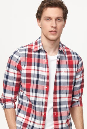 BUTTON DOWN OXFORD CHECKED SHIRT