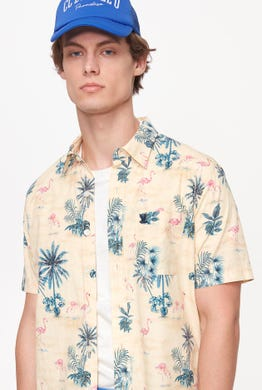 BUTTON DOWN BEACH PRINTED SHIRT