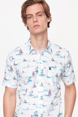 BUTTON DOWN SAILING PRINTED SHIRT
