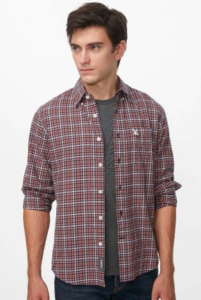 HOUNDSTOOTH BUTTON DOWN FLANEL SHIRT