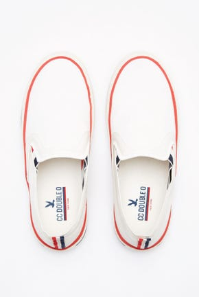 SLIP-ON CANVAS SNEAKERS WITH STRIPED DETAIL