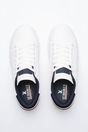 WHITE SNEAKERS WITH STRIPED HEEL TAP