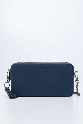 LOGO DOUBLE ZIP TOP WALLET WITH CHAIN STRAP