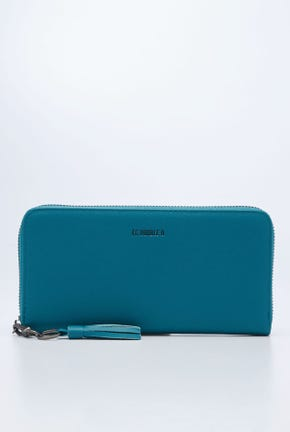 ZIP TOP WALLET WITH KEY CHAIN DETAIL