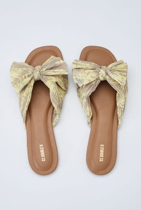 YELLOW BOW-TIE STRAP SANDALS