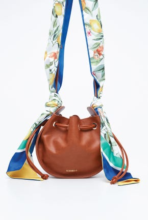 BUCKET BAG WITH PRINTED FABRIC STRAP