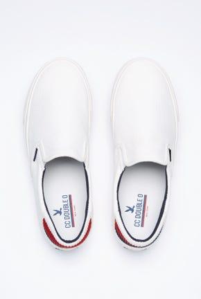 รองเท้าผ้าใบแบบสวมแต่งลายทาง