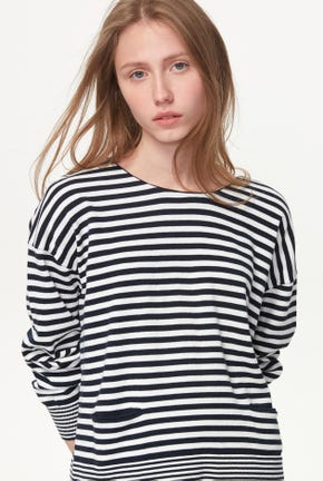 STRIPED PULLOVER WITH CRISS CROSS DETAIL