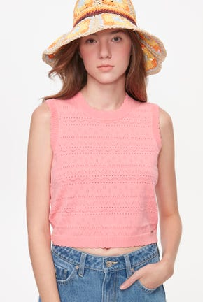 POINTELLE CROP KNITTED TOP
