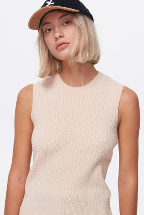 MOCK NECK CABLE KNITTED TOP