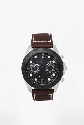 LEATHER STRAP METAL WATCH