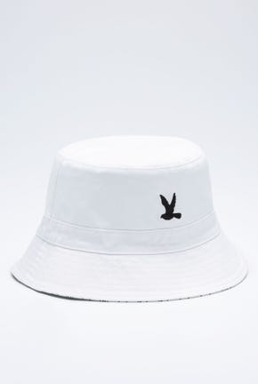 REVERSIBLE BUCKET HAT WITH LOGO STRIPES