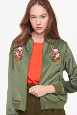 REVERSIBLE FLAMINGO BOMBER JACKET
