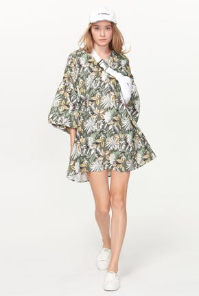BALLOON-SLEEVED PRINTED DRESS