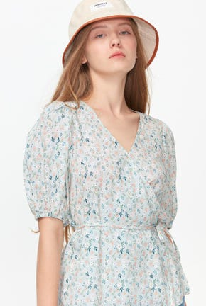 FRONT WRAP FLOWER PRINTED BLOUSE
