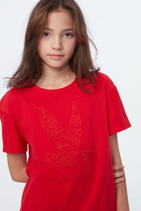 EMBROIDERED BIRD LOGO GRAPHIC TEE