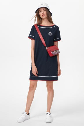 SHORT-SLEEVED TEE DRESS WITH CONTRAST TRIM