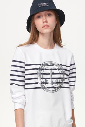 STRIPED PULLOVER WITH FOIL ANCHOR