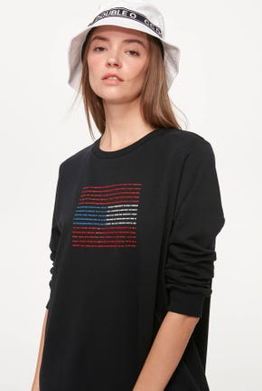GRAPHIC STATEMENT PULLOVER DRESS