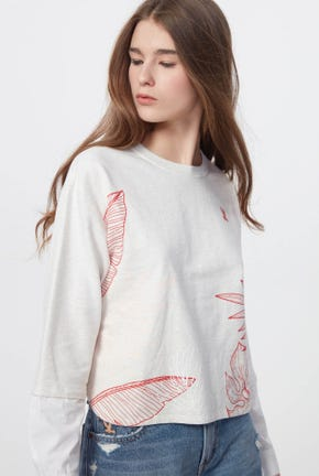 GRAPHIC PULLOVER WITH SHIRT SLEEVES DETAIL