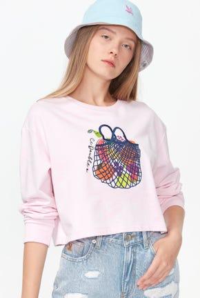 เสื้อกันหนาวแบบสวมทรงครอปลายผลไม้กราฟฟิค