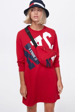 LOGO PULLOVER DRESS WITH FUNCTIONAL BAG