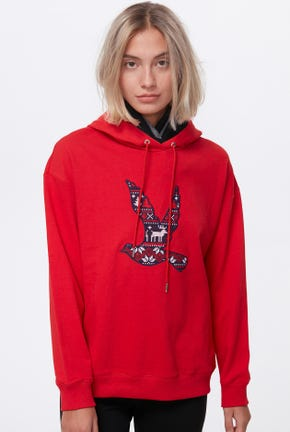 CROSS STITCH BIRD LOGO HOODED PULLOVER