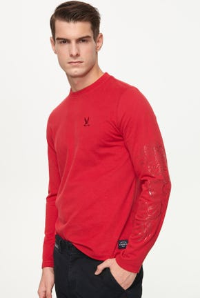 LONG-SLEEVED TEE WITH ON-TONE DRAGON DETAIL