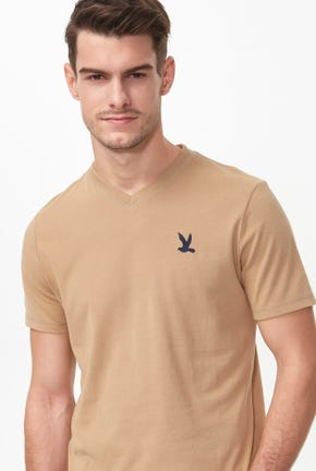 SOLID V-NECK BIRD LOGO TEE
