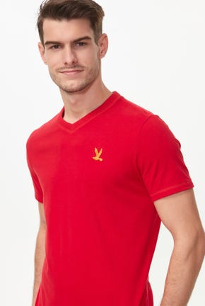 V-NECK GOLDEN BIRD LOGO TEE