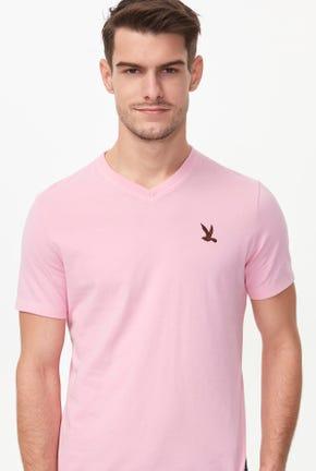 V-NECK BIRD LOGO TEE IN PINK