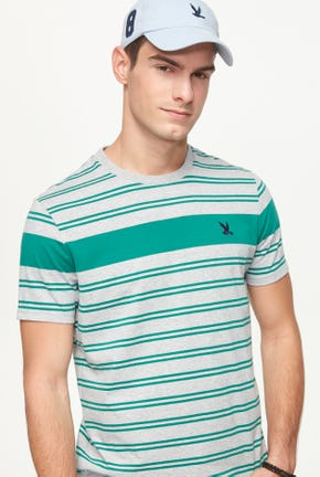CHEST BORDER STRIPED TEE