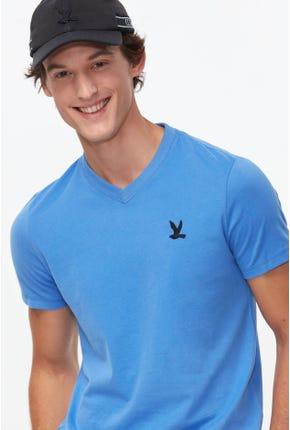 BASIC V-NECK LOGO TEE IN BLUE