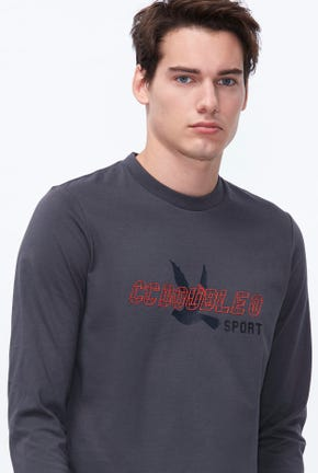 LONG SLEEVES SPORTS LOGO GRAPHIC TEE