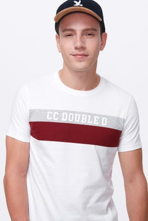 CHEST STRIPED LOGO TEE